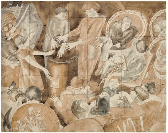 Artwork by Stanley Spencer, PARTY IN THE STUDIO, Made of watercolour and pencil on paper