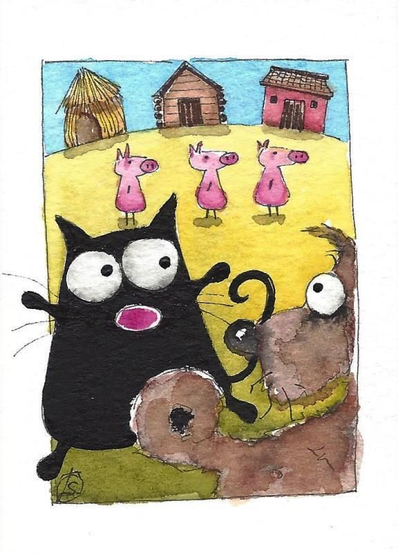 ACEO Original watercolor painting whimsical fat black cat - three little pigs #IllustrationArt