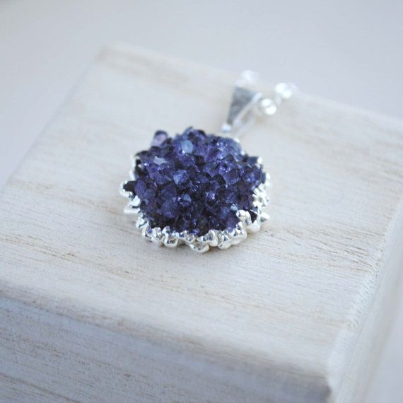 Amethyst Necklace Amethyst Cluster Necklace Raw by SongYeeDesigns