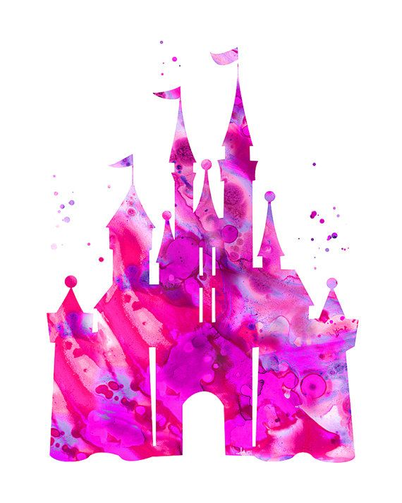 Pink Cinderella castle print Disney castle by ...