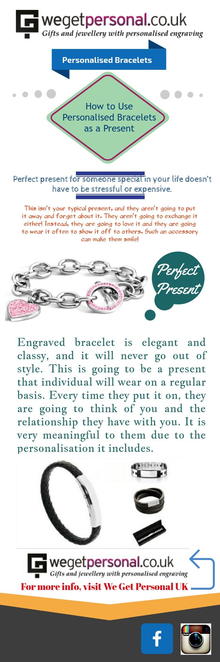 Looking for the perfect present for someone special? Purchase Engraved bracelet from We get Personal UK, it is elegant and classy gift and it will never go out of style. #personalisedbracelet #engravedbracelet