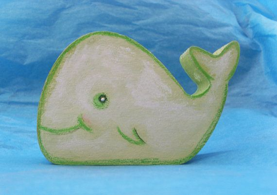 WOODEN WHALE / DOLPHIN  Handpainted by allabouthandicraft on Etsy