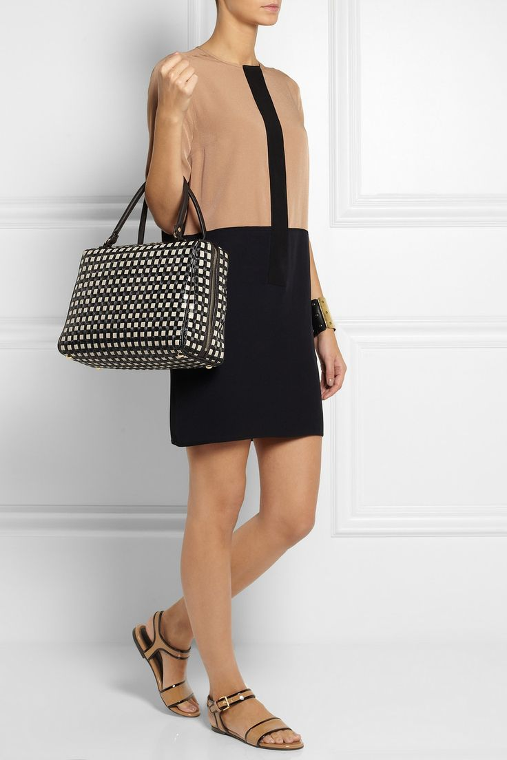 Marni|Woven leather and raffia bowling bag|NET-A-PORTER.COM
