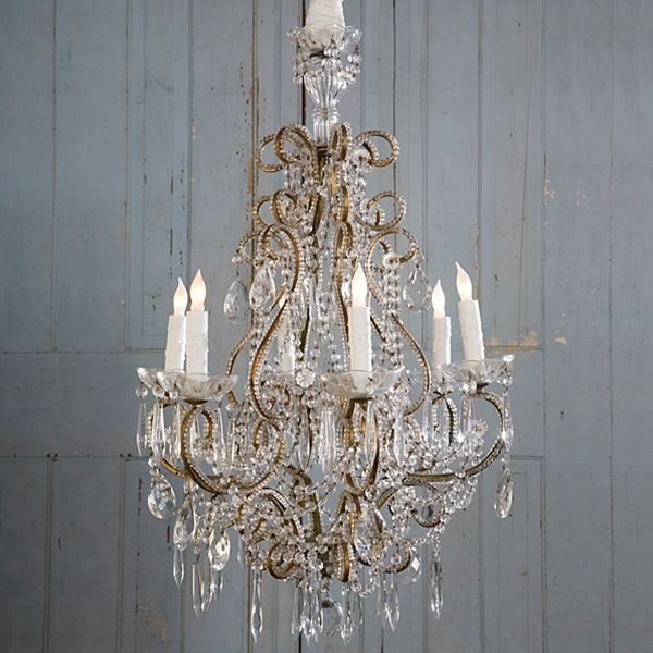 """""""Traditional"""" gold & crystal chandelier from Shabby Chic Couture by Rachel Ashwell."""