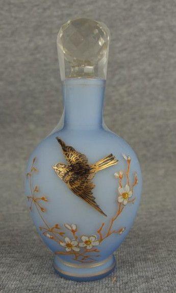 Antique Vintage BRISTOL GLASS PERFUME SCENT BOTTLE, Powder blue with floral spray and gold-leaf bird.