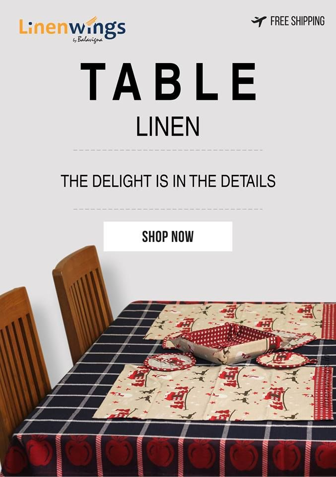 An ethnic range of Table Linens for Sale. Available in beautiful designs exclusively @ LinenWings Shop Now at http://www.linenwings.in/product-category/table-linen/ #Linen #Cotton #HomeFurnishing #TableLinen #OrderNow #FreeShipping #BedSheets