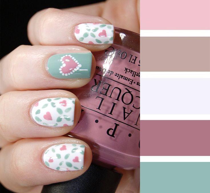 Combinaciones de uñas en colores rosa pastel