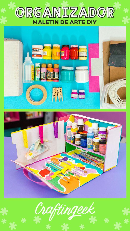 Cómo hacer un Maletín de arte organizador — Craftingeek Ideas Para, Ideas Fáciles, Diy And Crafts, Victoria, Amor, Art Projects, Creative Crafts, Shoe Box, Clothespins