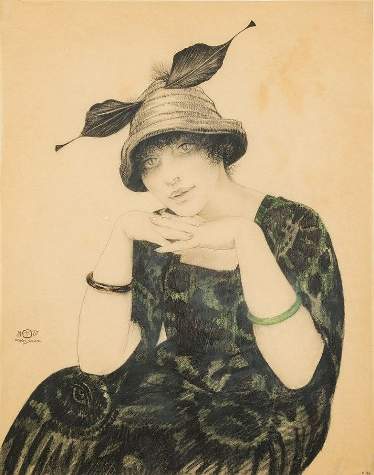 Walter Sauer [1889-1927]- Portrait of a girl wearing a bonne