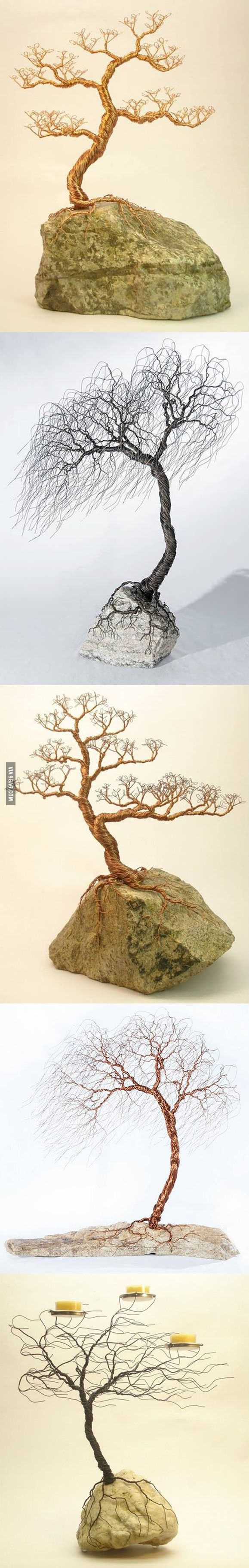 Stiff wire for crafts - My Friend Makes These Wicked Cool Wire Trees