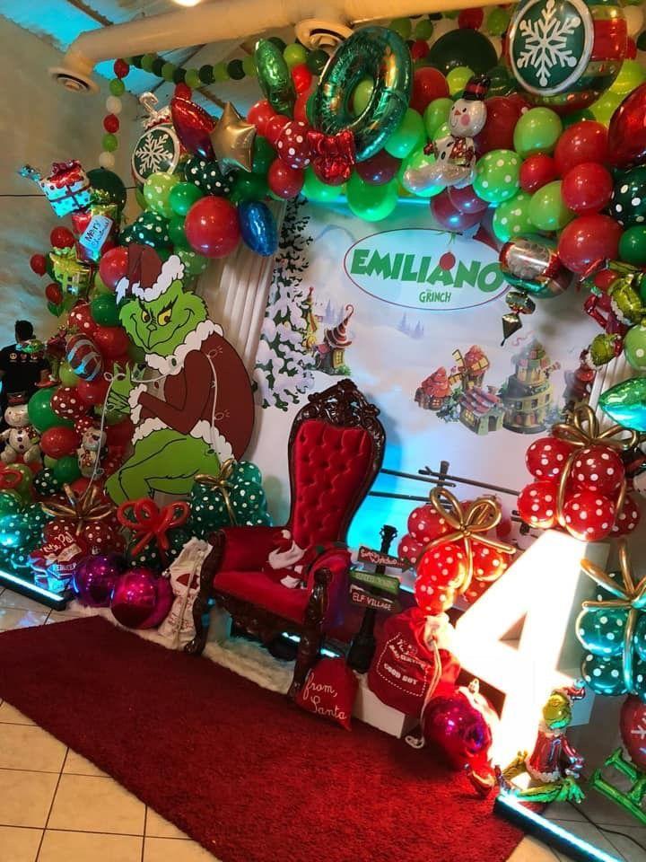 The Grinch Christmas Balloon Decor Christmasparty Christmas Party Backdrop In 2020 Grinch Christmas Decorations Christmas Balloon Decorations Christmas Balloons