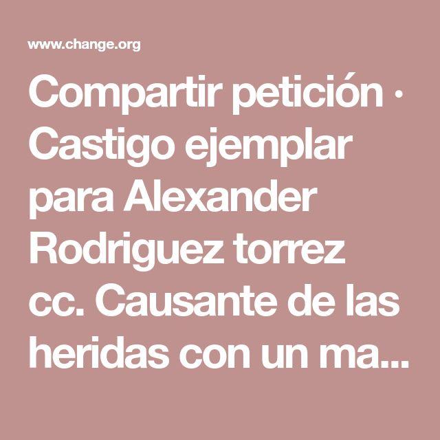 Compartir petición · Castigo ejemplar para Alexander Rodriguez torrez cc. Causante de las heridas con un machete a este perro. · Change.org
