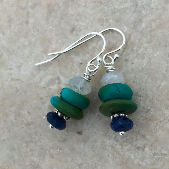 Turquoise Lapis and Moonstone Earrings with Sterling Silver