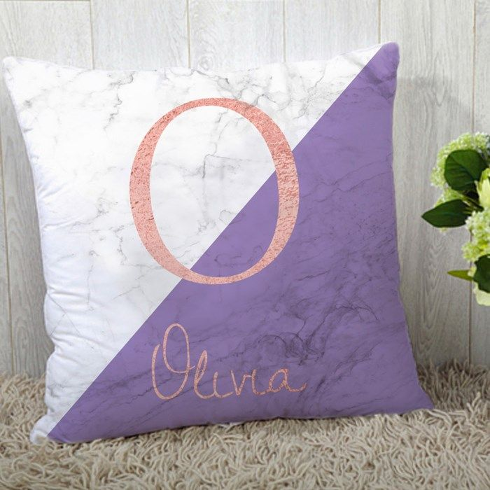 Personalised Cushion Marble Initial