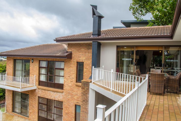 The balcony that runs a good length of the upper floor's base overlooks the large pool with fountain. By this time it will have become apparent that this house is meant to be lived in; the pool area is an entertainers dream. Who needs Clifton when Paarl offers this house?