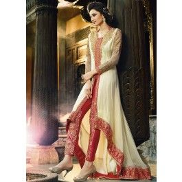 Cream and Red Pant Style Anarkali