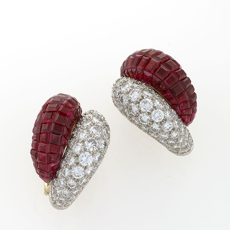 Van Cleef & Arpels Diamond and Ruby Invisibly Set Earrings.  Perfect for Valentines Day.