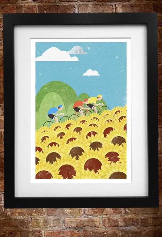 'Race to the top' cycling themed art print by Gareth Llewhellin available to buy from www.gsdoodles.bigcartel.com