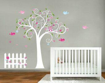 Nursery tree- Vinyl tree decal- Swirl tree- Modern tree- Owl tree with fence owls birds