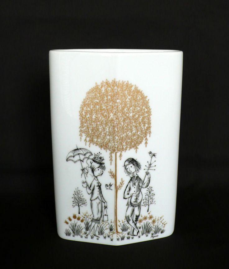 "Vintage Raymond PEYNET Porcelain Vase ""Lovers"" for ROSENTHAL Studio Line Signed #RosenthalStudioLine"