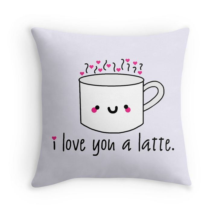 Cute Pillow Puns : I Love You A Latte Throw Pillow Kids clothing, Coffee & tea and Canvas prints