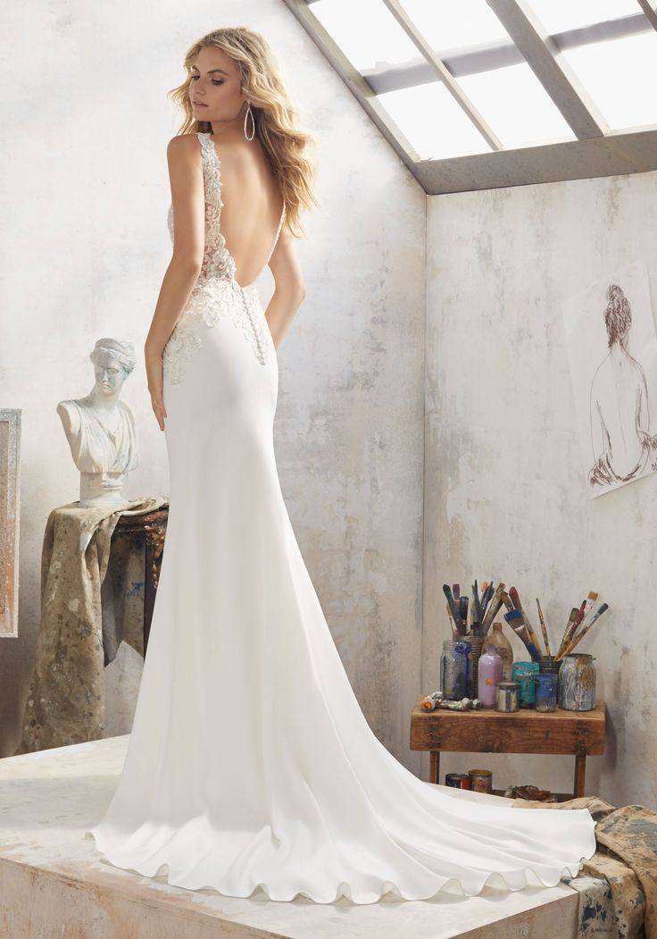 Morilee by Madeline Gardner 'Mallory' 8113 | Crystal Beaded Embroidered AppliquŽés Adorn the Bodice and Open Back on This Stunning Crepe Sheath. Covered Button Detail Accents the Back.