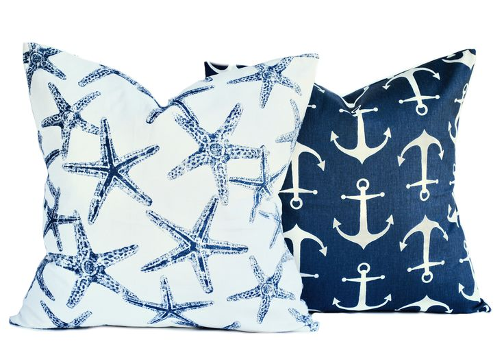 2 Nautical pillow covers, 1 anchor and 1 starfish, cushion, decorative throw pillow, Blue pillow, Navy Pillow, accent pillow, pillow case by ThatDutchGirlHome on Etsy