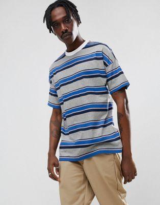 ASOS Oversized T-Shirt With Blue Retro Stripe