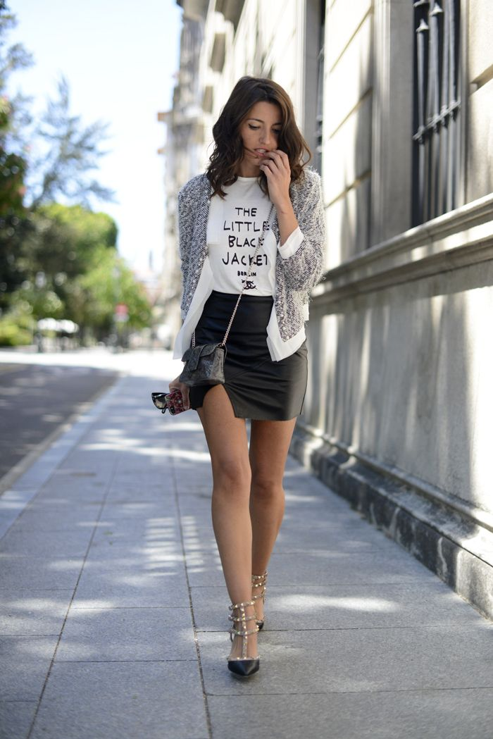 leather skirt, graphic tee, i love it!
