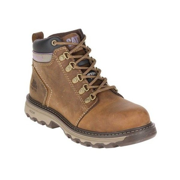Women's Caterpillar Ellie Composite Toe Work Boot ($125) ❤ liked on Polyvore featuring shoes, boots, beige, casual, work boots, caterpillar boots, heavy duty work boots, composite toe safety shoes, lightweight steel toe boots and steel toe boots