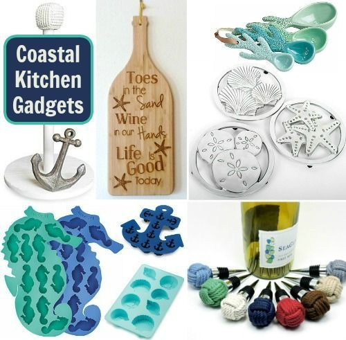 Gadgets for the coastal Coastal Kitchen: http://www.completely-coastal.com/2016/05/coastal-nautical-kitchen-gadgets.html Decorative kitchen gadgets that are fun and functional for those who love the sea!