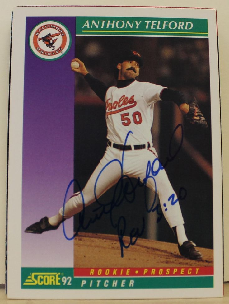 Anthony Telford Baltimore Orioles Autographed 1992 Score Card