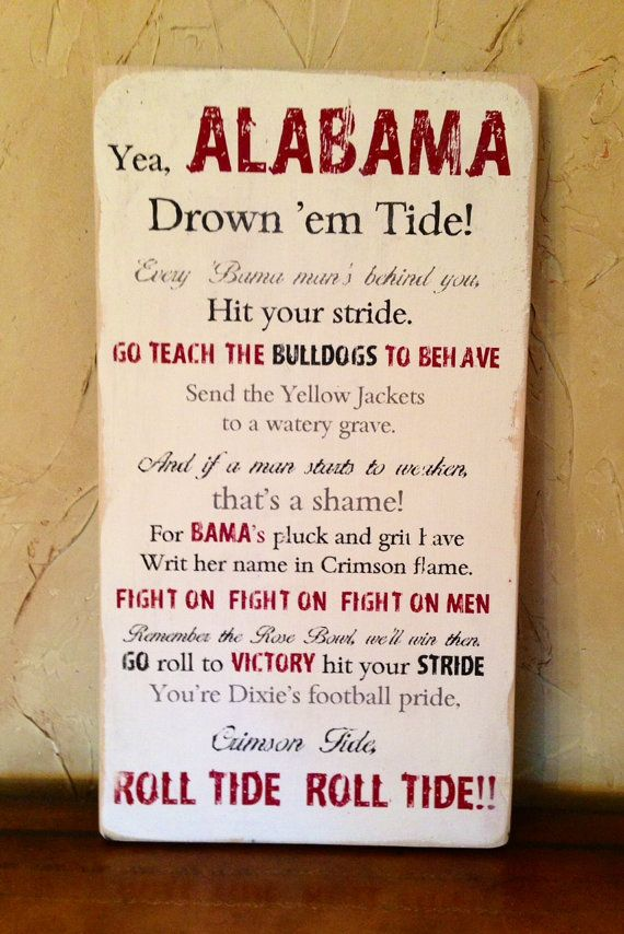Alabama fight song vintage wood wall by CatherineBruceDesign, $40.00