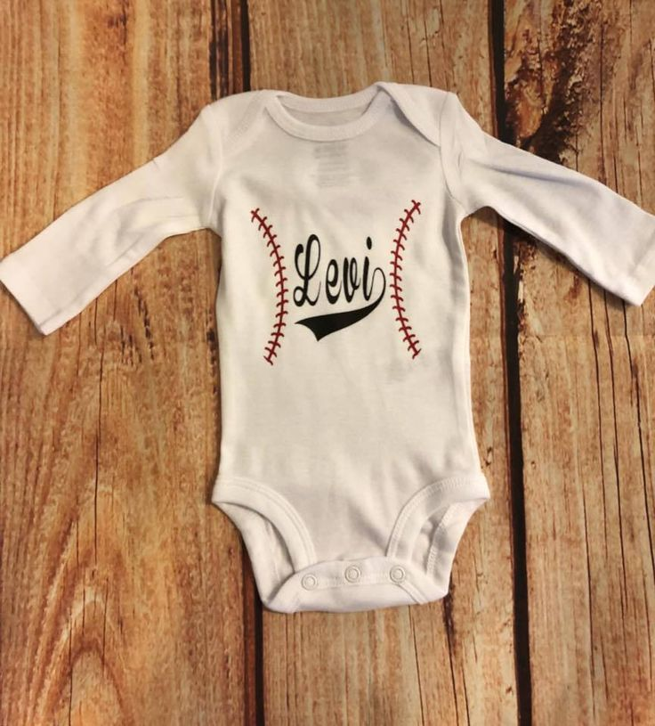 Excited to share the latest addition to my #etsy shop: Personalized long sleeve baseball onesie http://etsy.me/2n3gZq2 #clothing #children #boy #craftymomma2017
