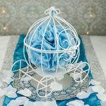 """[3 of 3] 11.5"""" Wire Frame Cinderella Pumpkin Carriage Wedding Centerpiece Decoration (White) - 21.89"""