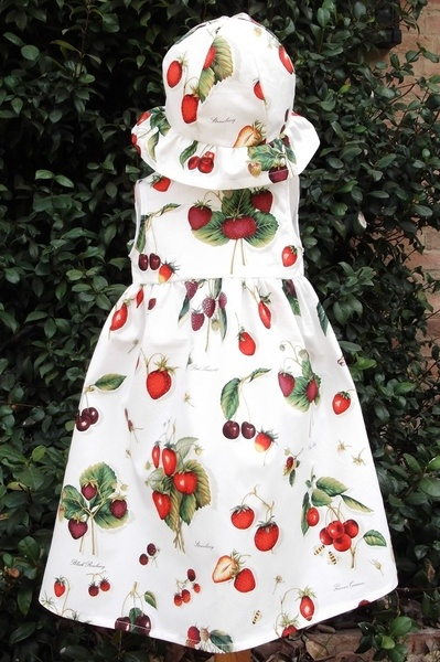 very bright dress with strawberry and cherries