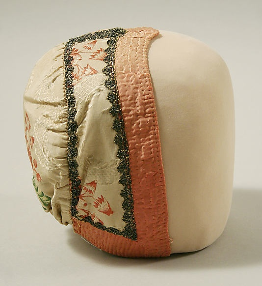 """18th century French Cap made of silk.  Makes me think of the """"Chocolate Seller'.  Not what we would expect."""