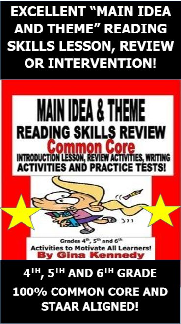 Main Idea And Theme Reading Unit Lesson Activities