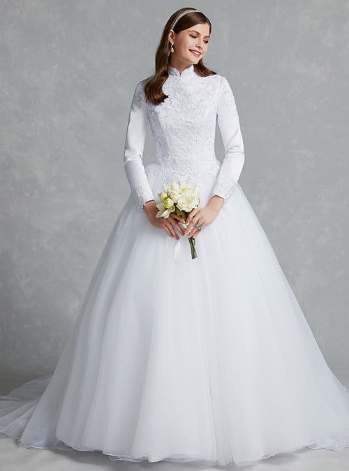 83759060d0d Ball Gown High Neck Chapel Train Lace   Tulle Made-To-Measure Wedding  Dresses