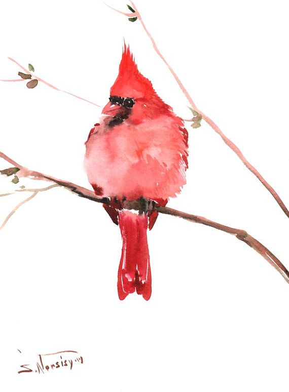 Northern Cardinal 12 X 9 in red cardinal wall art by ORIGINALONLY