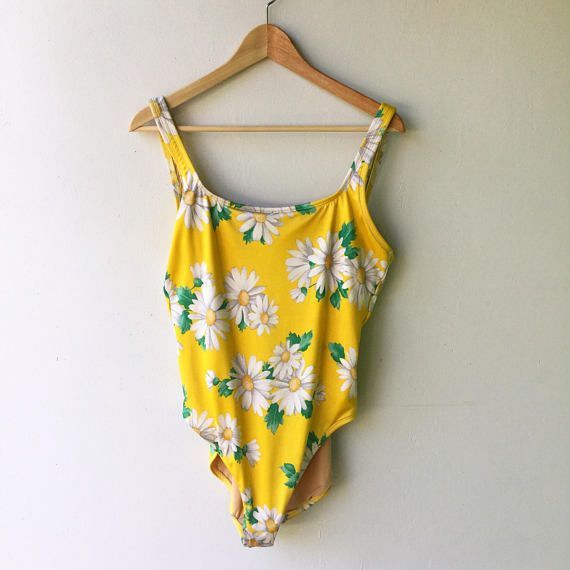 [SOLD] JULY SALE  1990s Vintage Yellow DAISY One Oiece Liz Claiborne