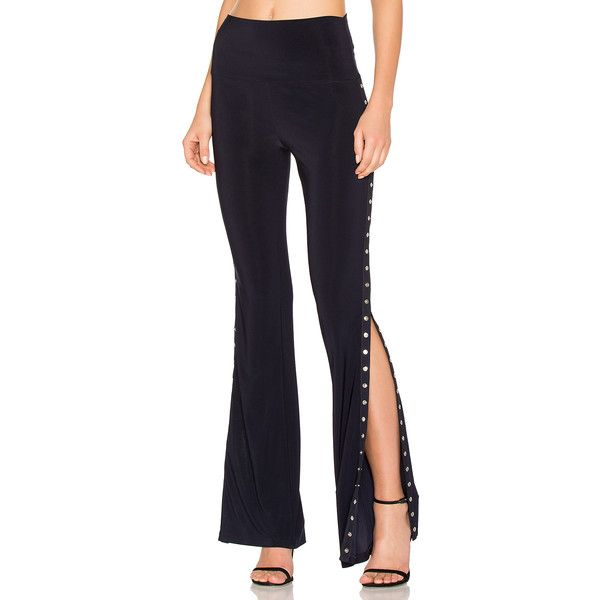 Norma Kamali Side Snap Boot Pant ($200) ❤ liked on Polyvore featuring pants, stretch pants, norma kamali pants, button pants, snap pants and blue stretch pants