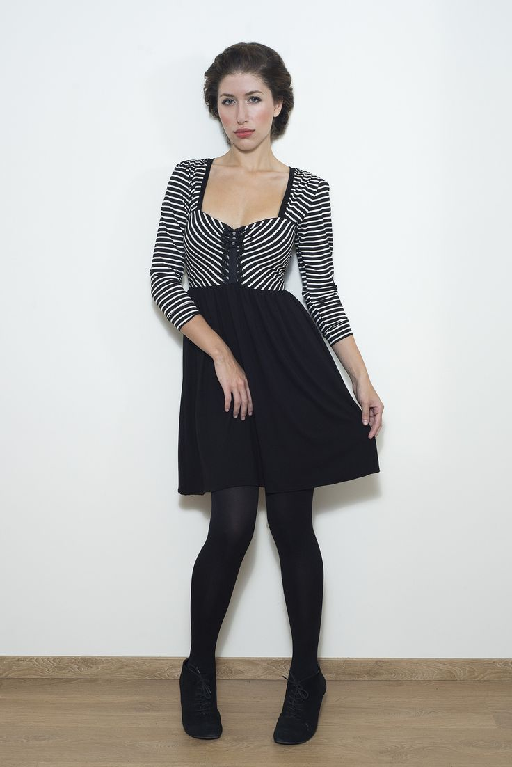 Black and White Striped top part Dress