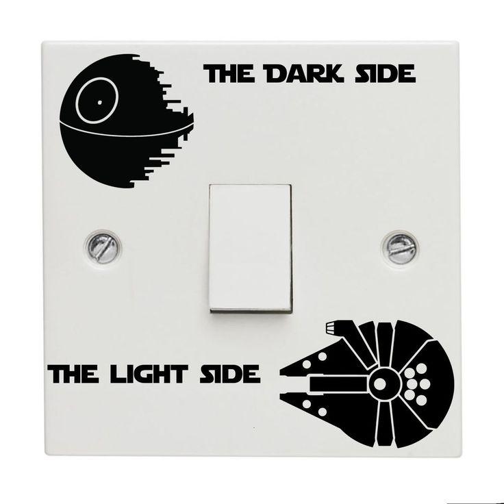 Star wars Light Switch Sticker Decal Death Star Millennium Falcon Vinyl Kids New