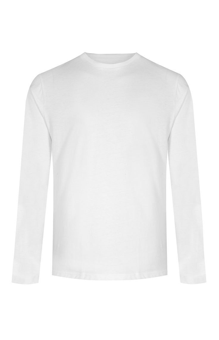Primark - White Long Sleeve Crew Neck T-Shirt