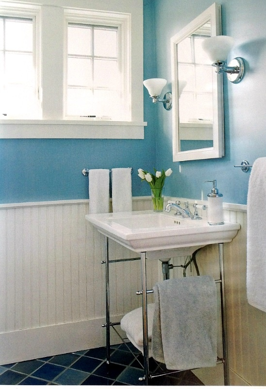 Cute blue with wood panels