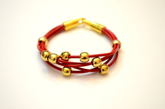 Red leather Golden Acrylic bead bracelet Leather by OxyFineCrafts