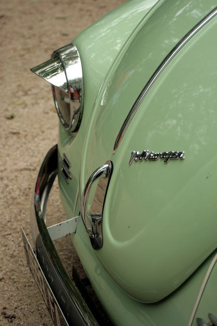 vintage volkswagon bug, convertible, cream top, chrome accents and that beautiful mint color