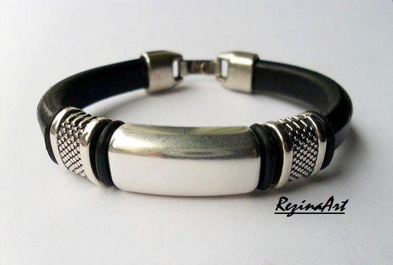 Fekete regaliz bőr karkötő...design 9.