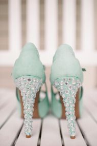 Mint green bridal shoes
